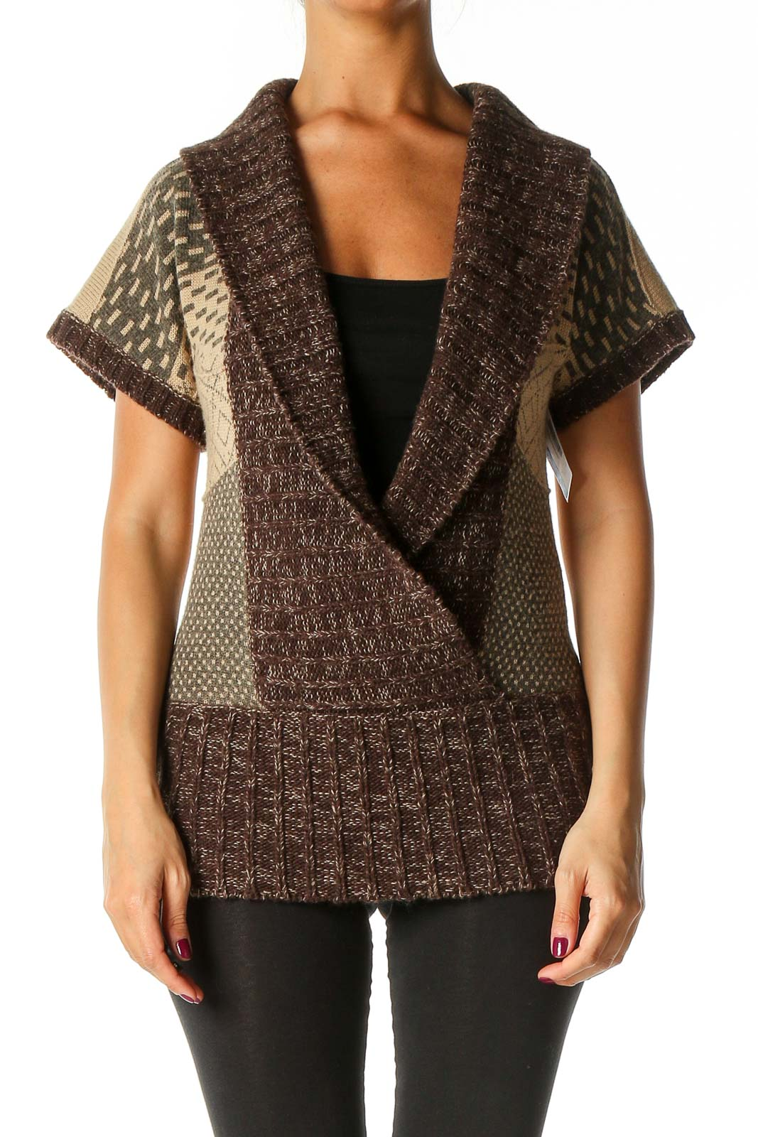 Brown Solid Cardigan Front