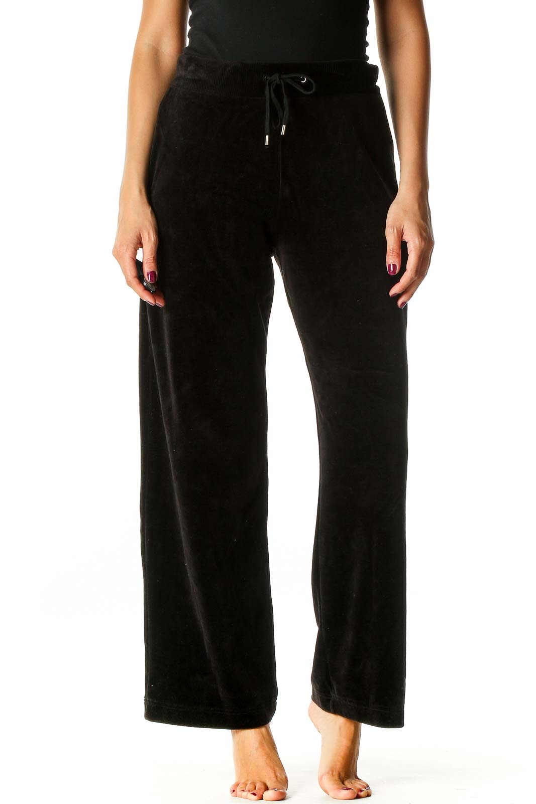Black Textured Retro Sweatpants Front