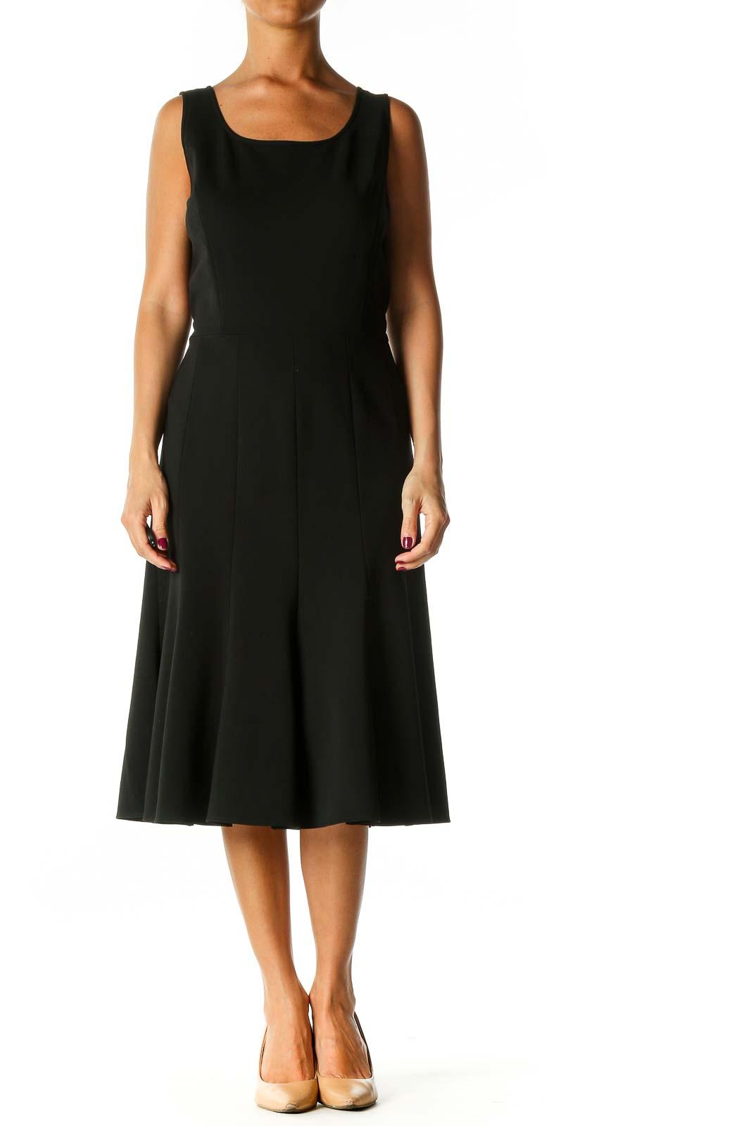Black Solid Semiformal A-Line Dress Front