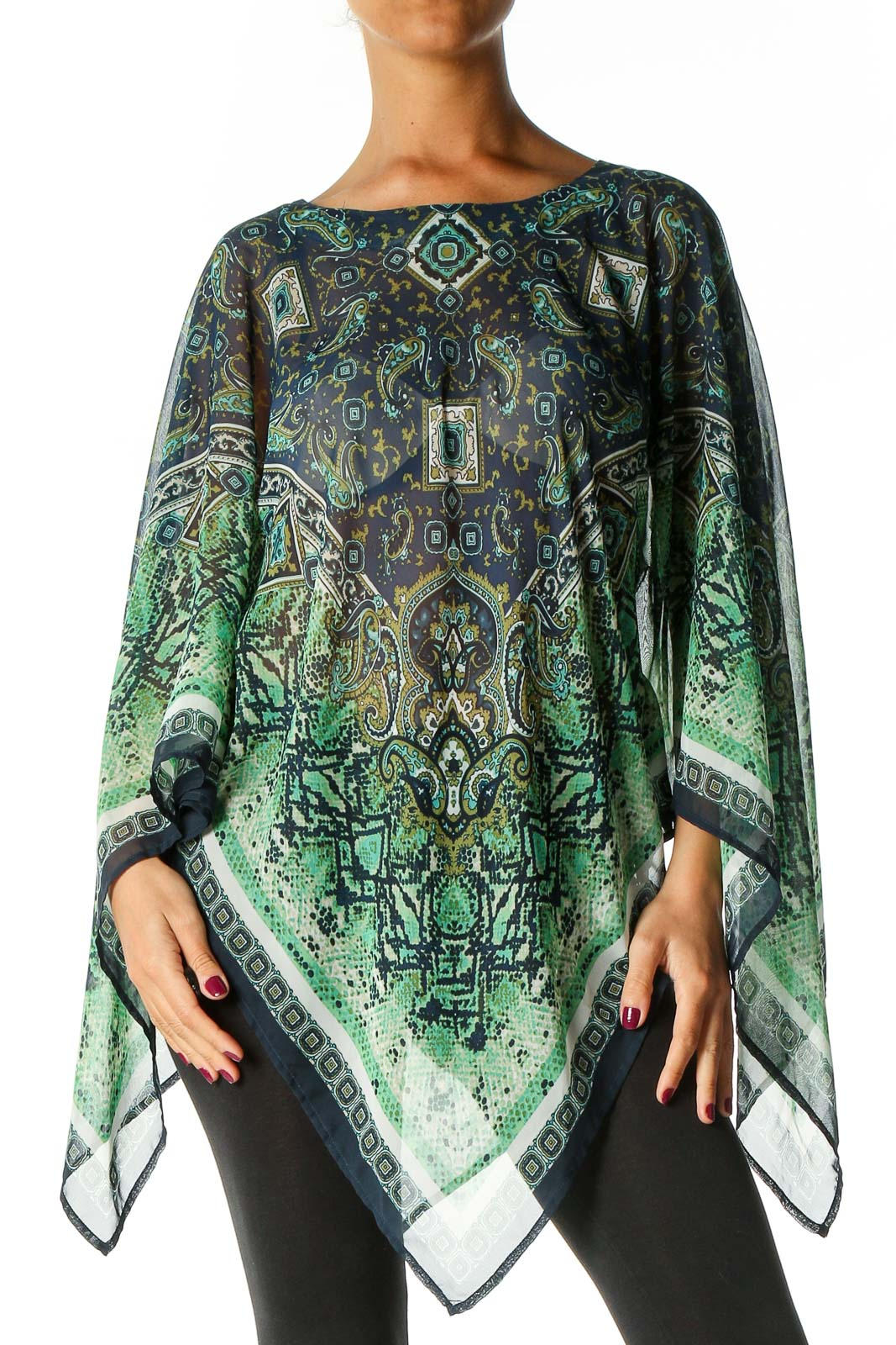 Green Paisley Blouse Front