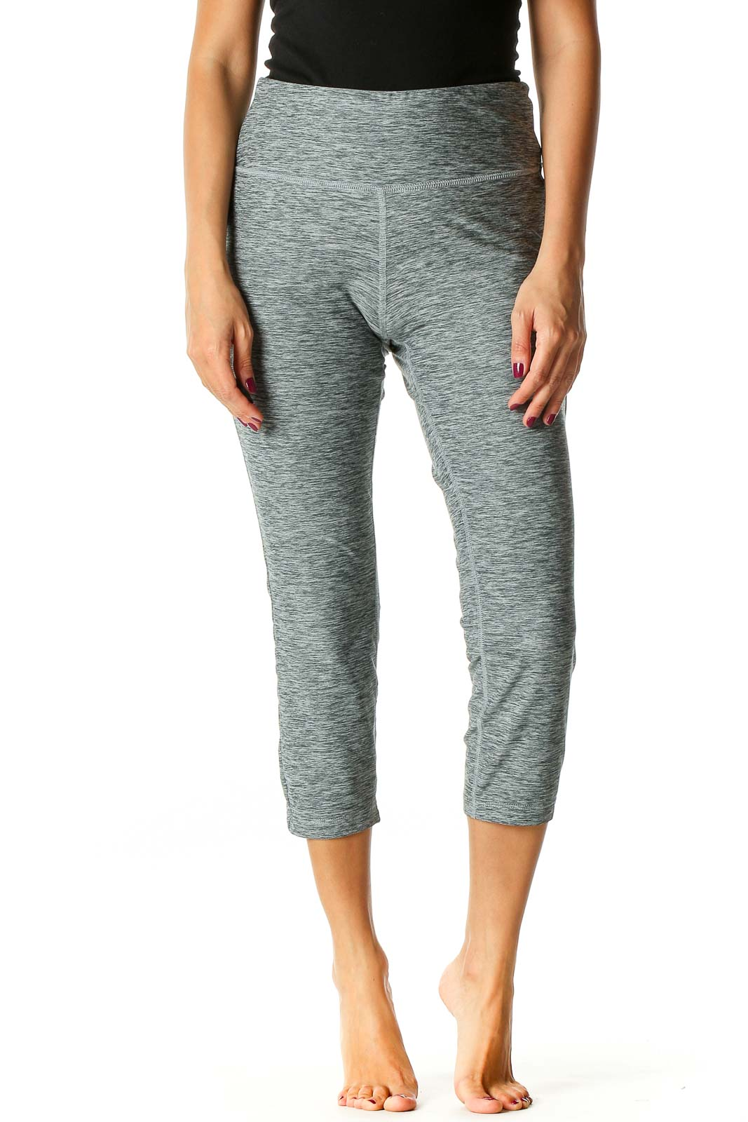 Gray Solid Activewear Leggings Front