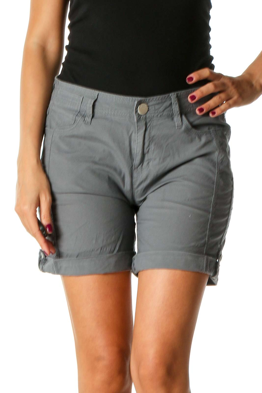 Gray Solid All Day Wear Shorts Front