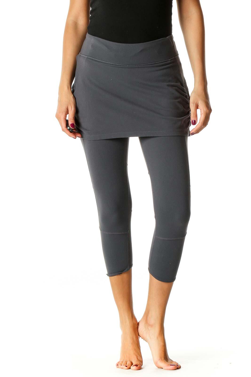 Gray Solid Activewear Capri Leggings Front
