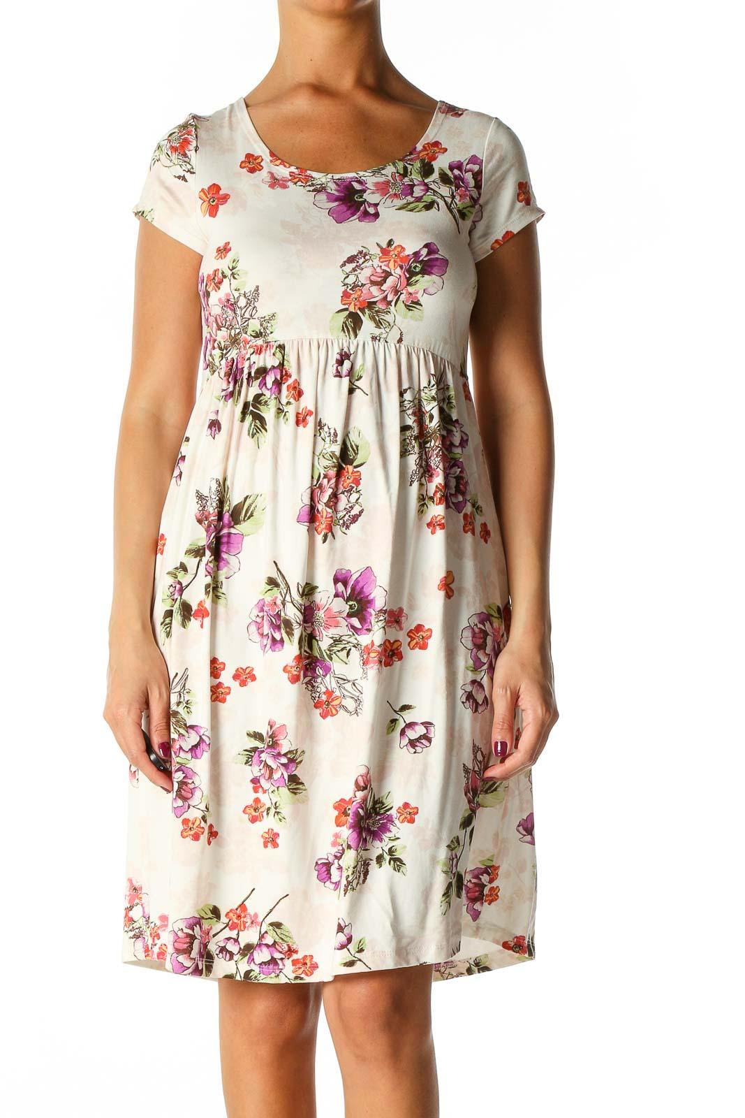 Beige Floral Print Casual A-Line Dress Front
