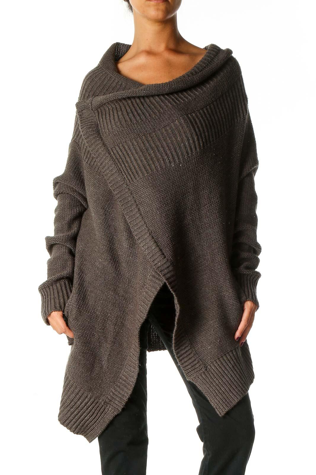 Brown Textured Cardigan Front
