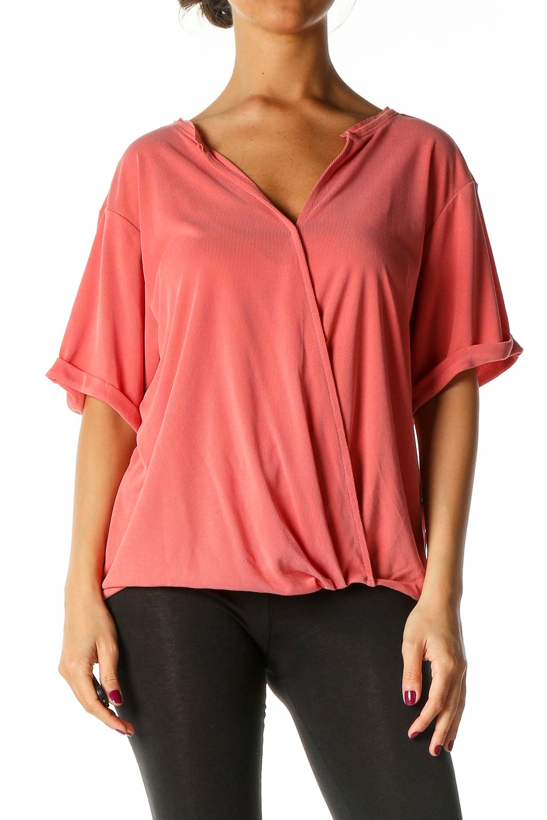 Pink Solid Casual T-Shirt Front