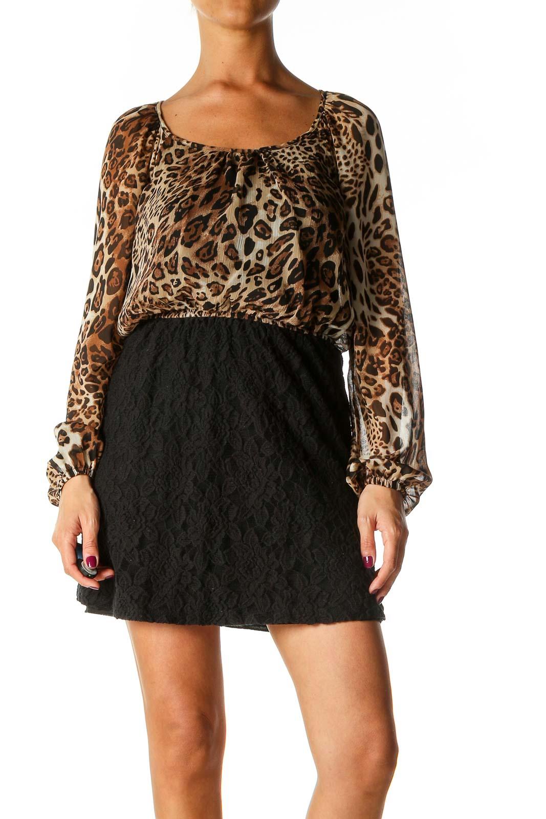 Black Animal Print Bohemian Fit & Flare Dress Front