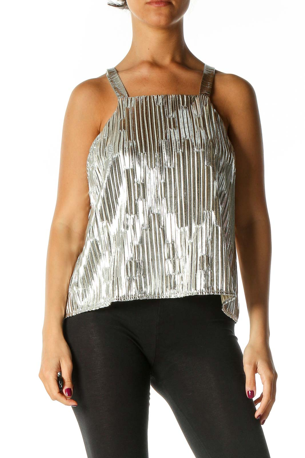 Silver Textured Chic Blouse Front