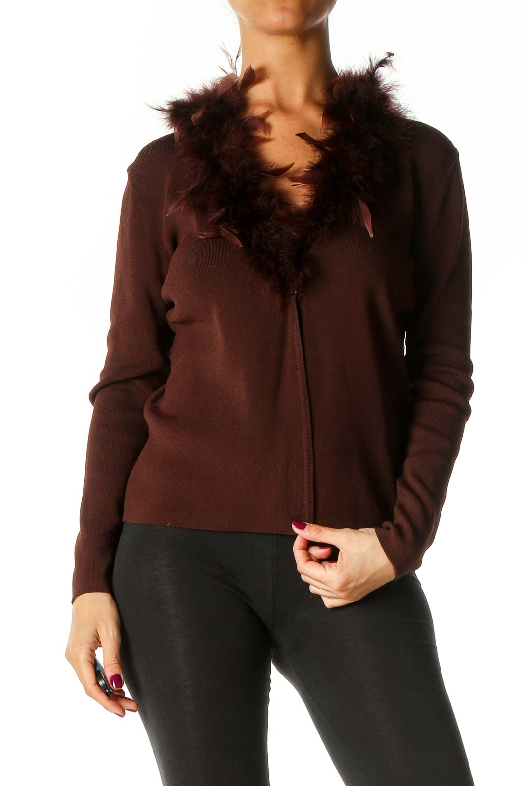 Brown Textured Cardigan Front