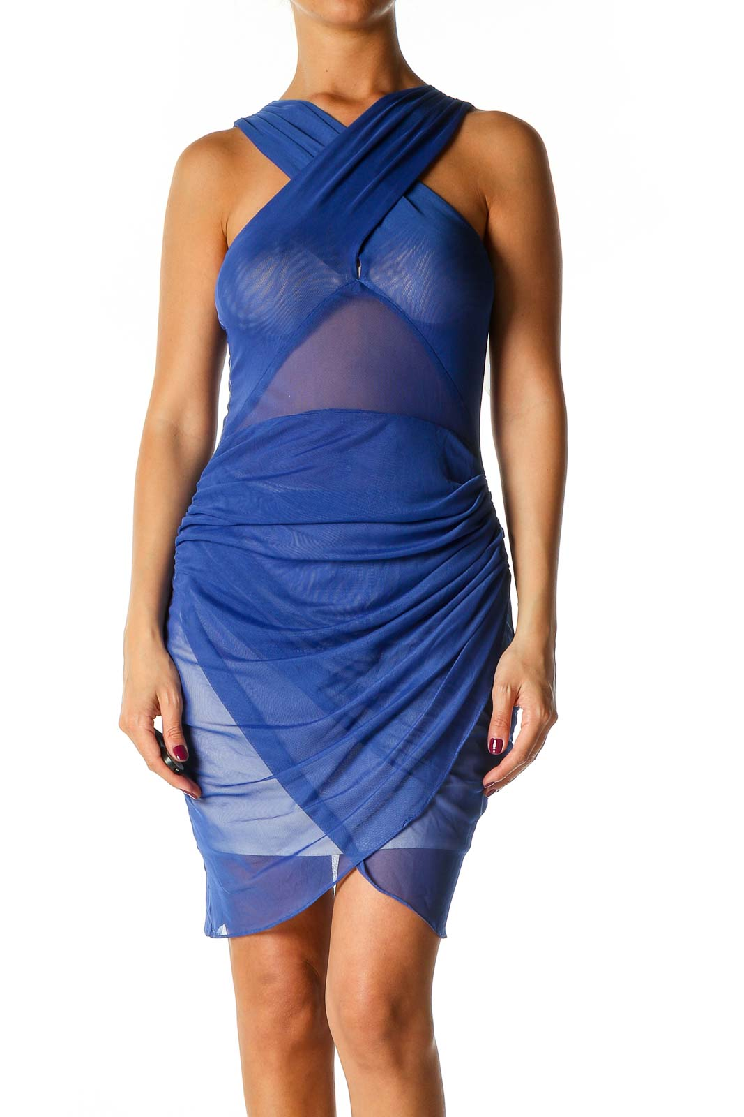 Blue Solid Chic Sheath Dress Front