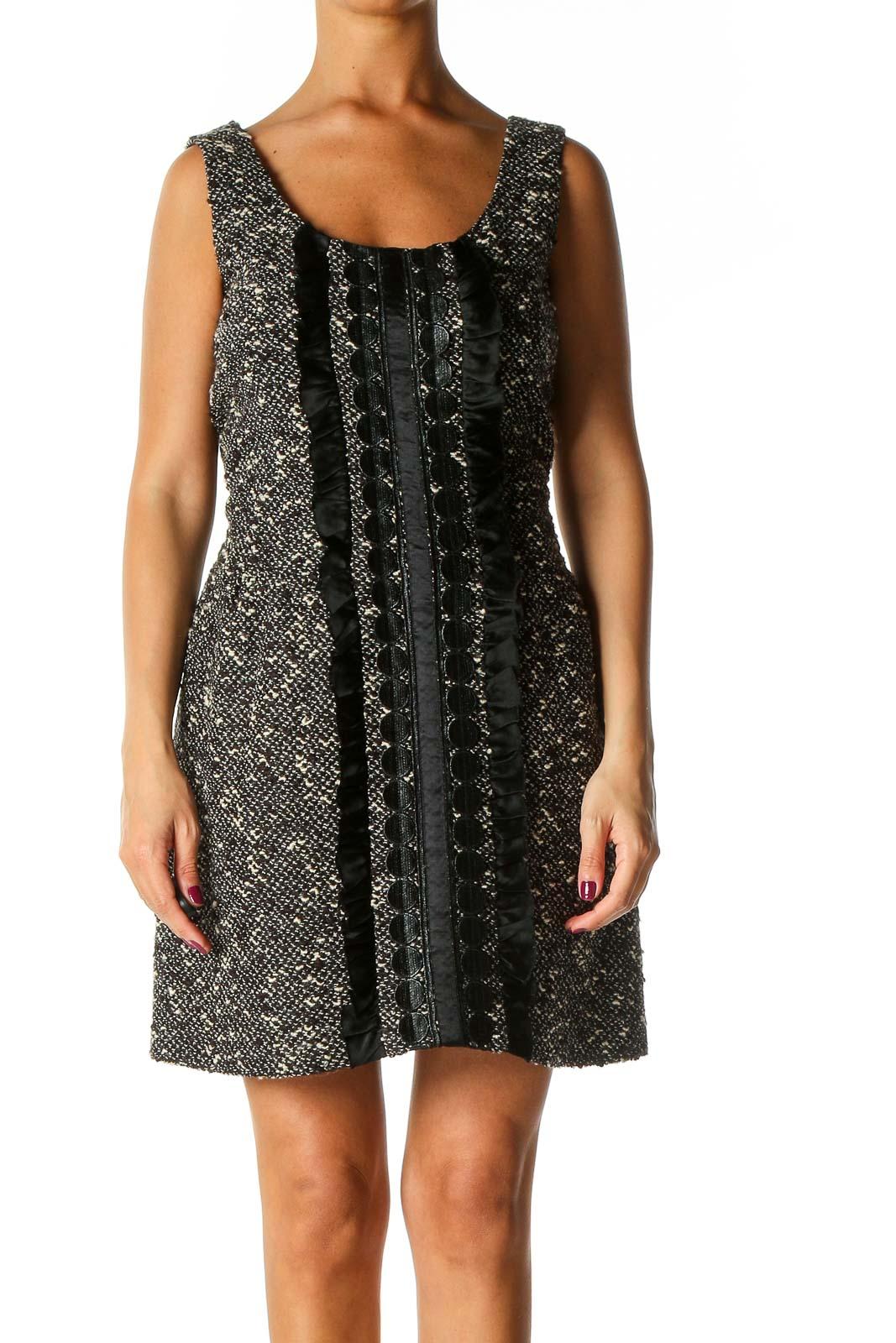 Black Textured Cocktail A-Line Dress Front