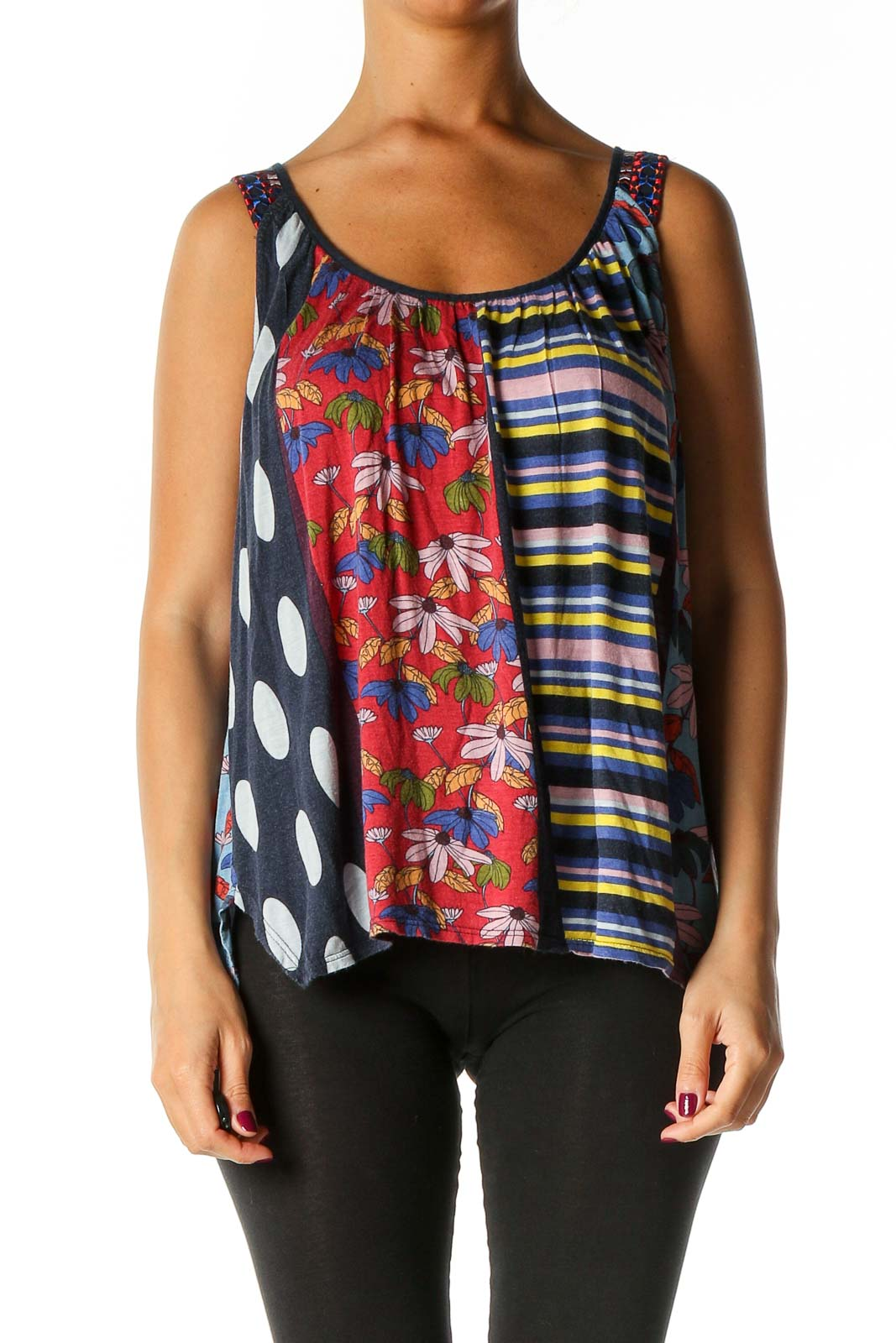 Red Graphic Print Retro Tank Top Front