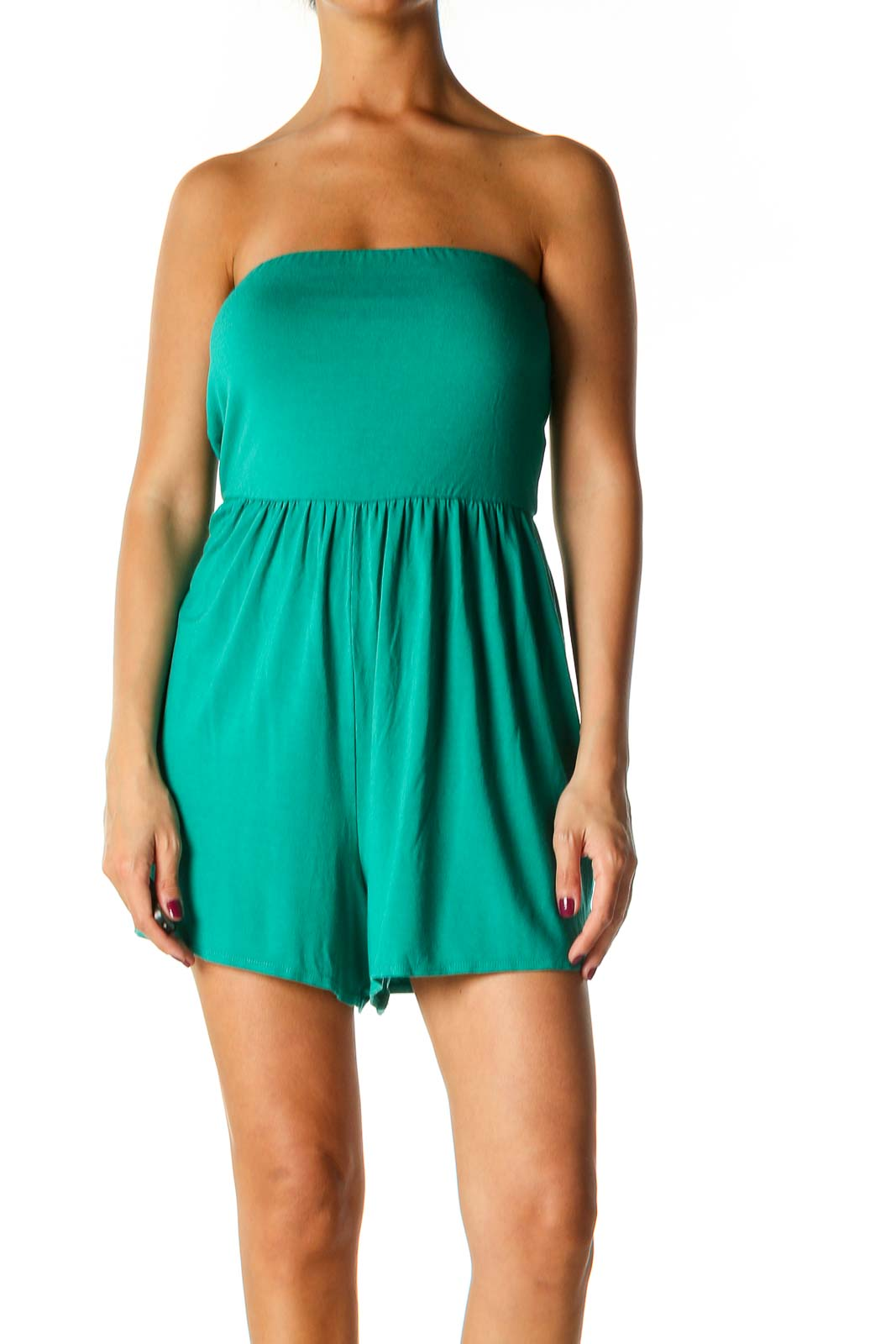 Green Solid Casual Romper Front