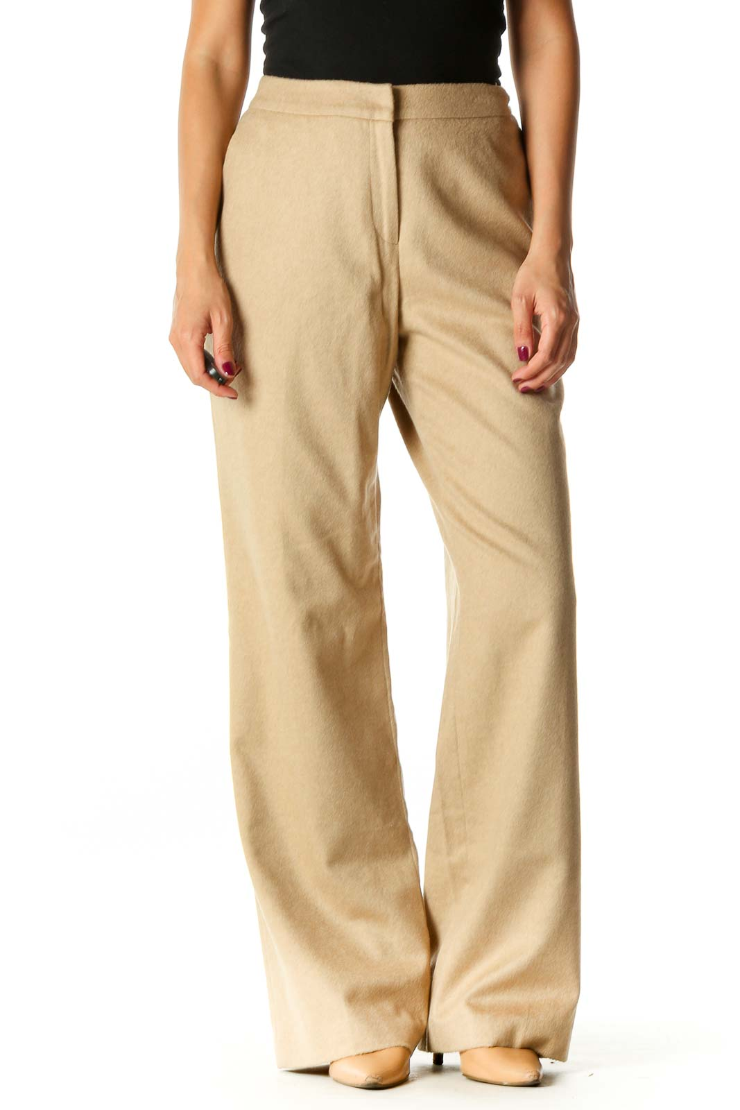 Beige Textured Classic Palazzo Pants Front