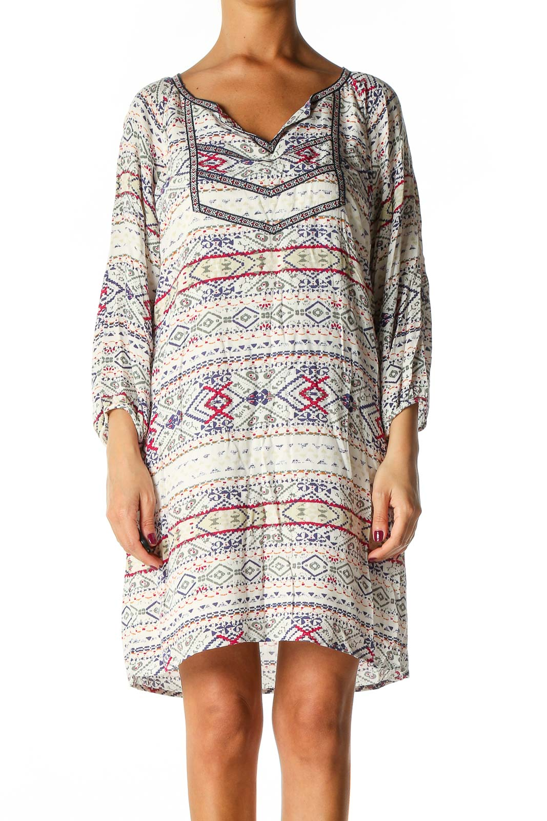White Bohemian Shift Dress Front