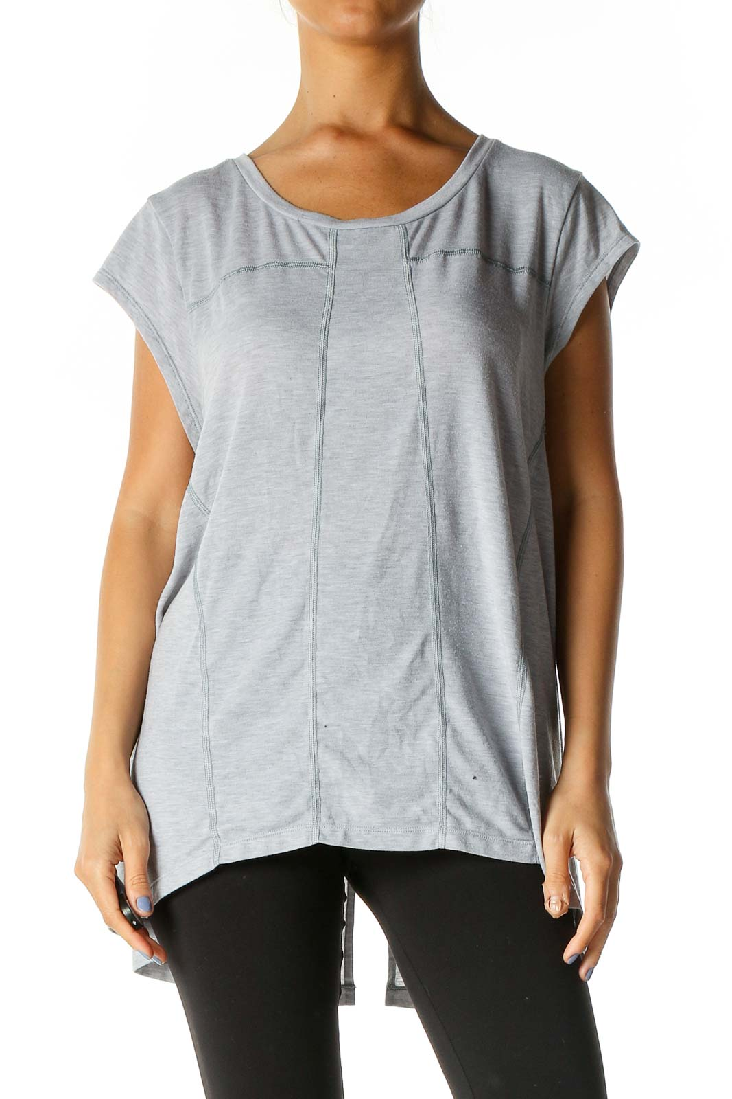 Gray Solid Activewear Blouse Front