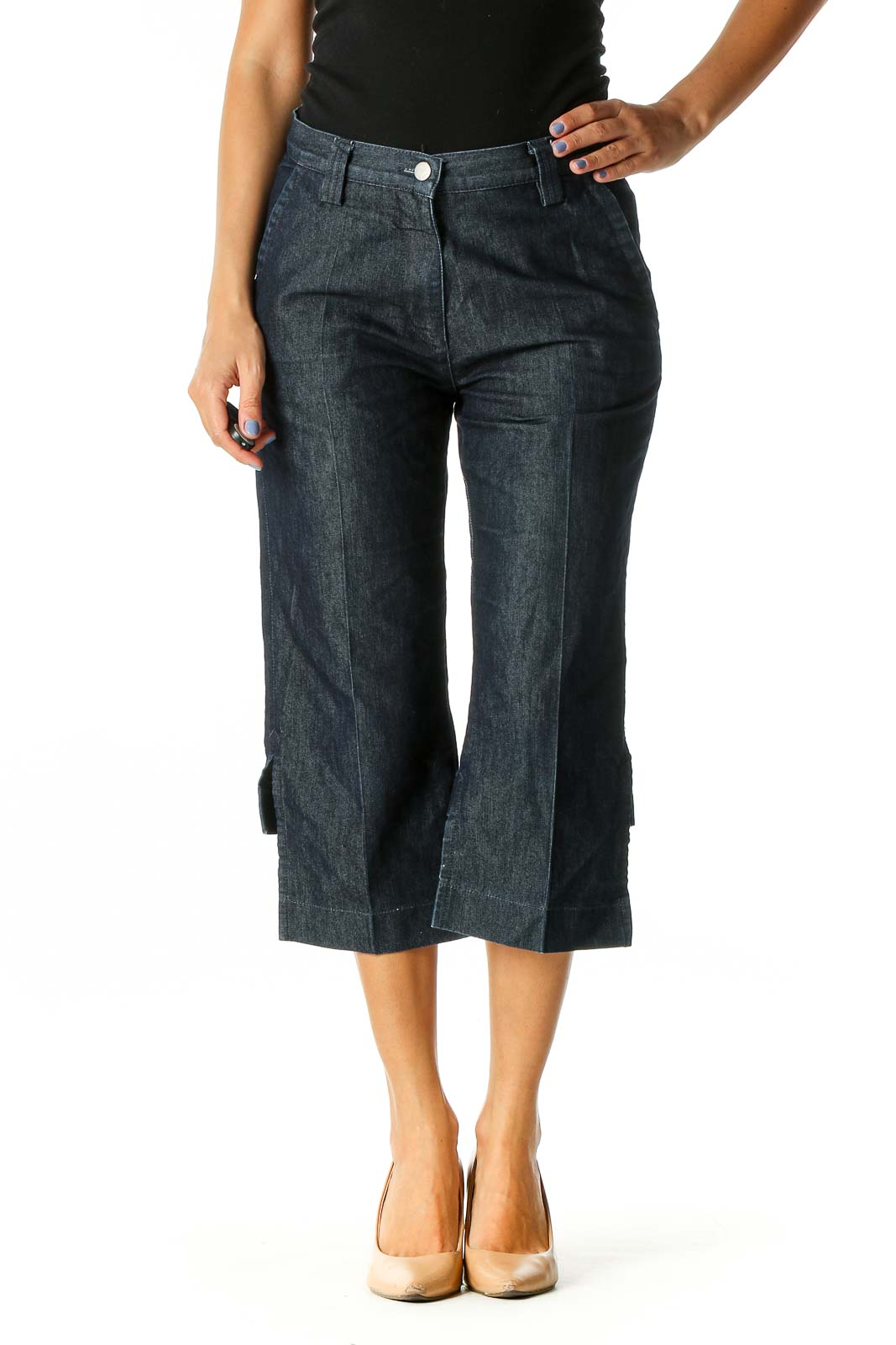 Blue Casual Wide Leg Jeans Front
