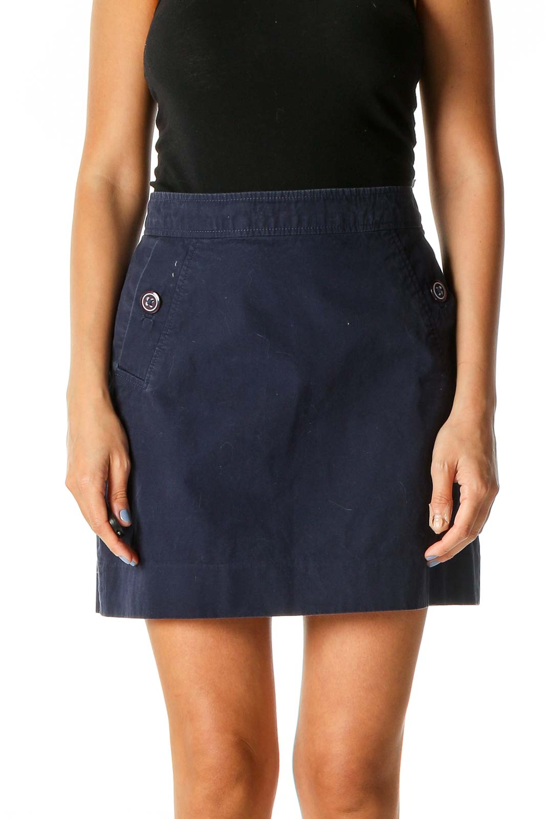 Blue Solid Chic A-Line Skirt Front