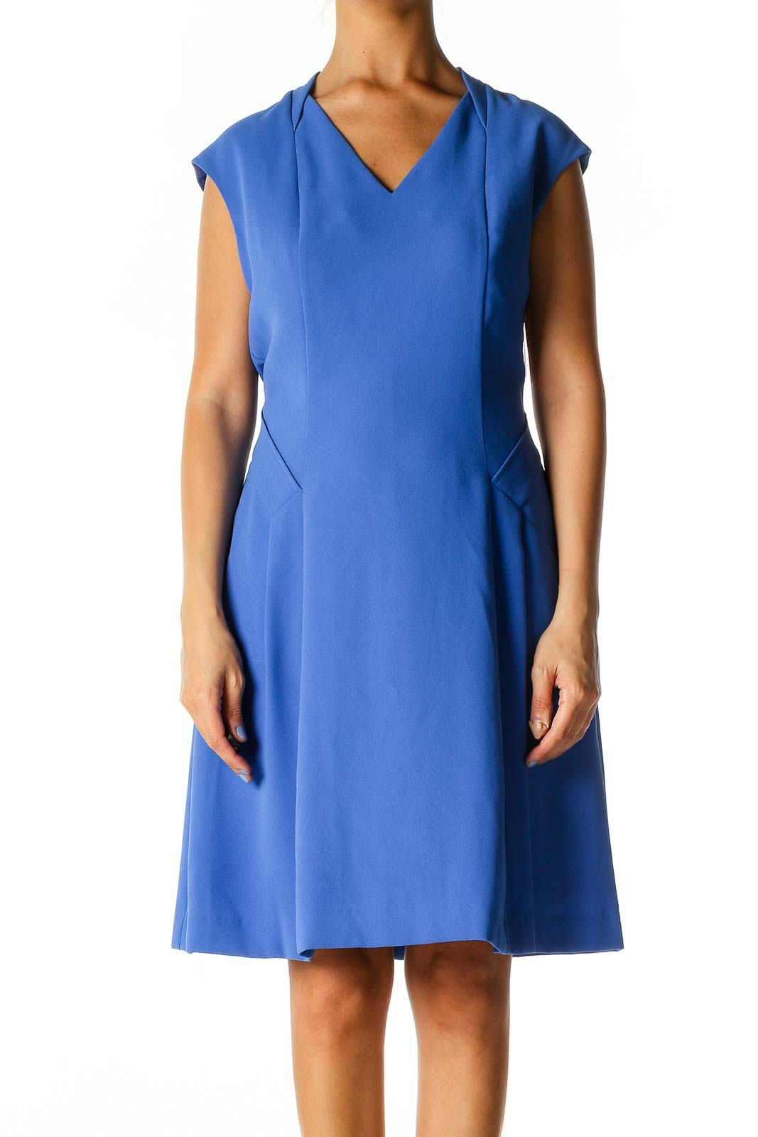 Blue Solid Classic A-Line Dress Front