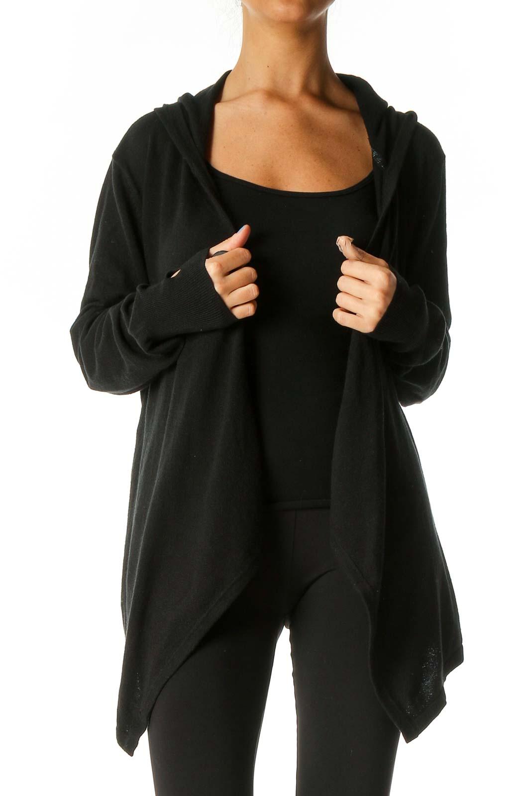 Black Solid Cardigan Front