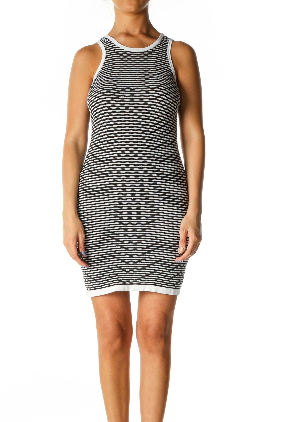 Black Textured Casual Sheath Dress Front