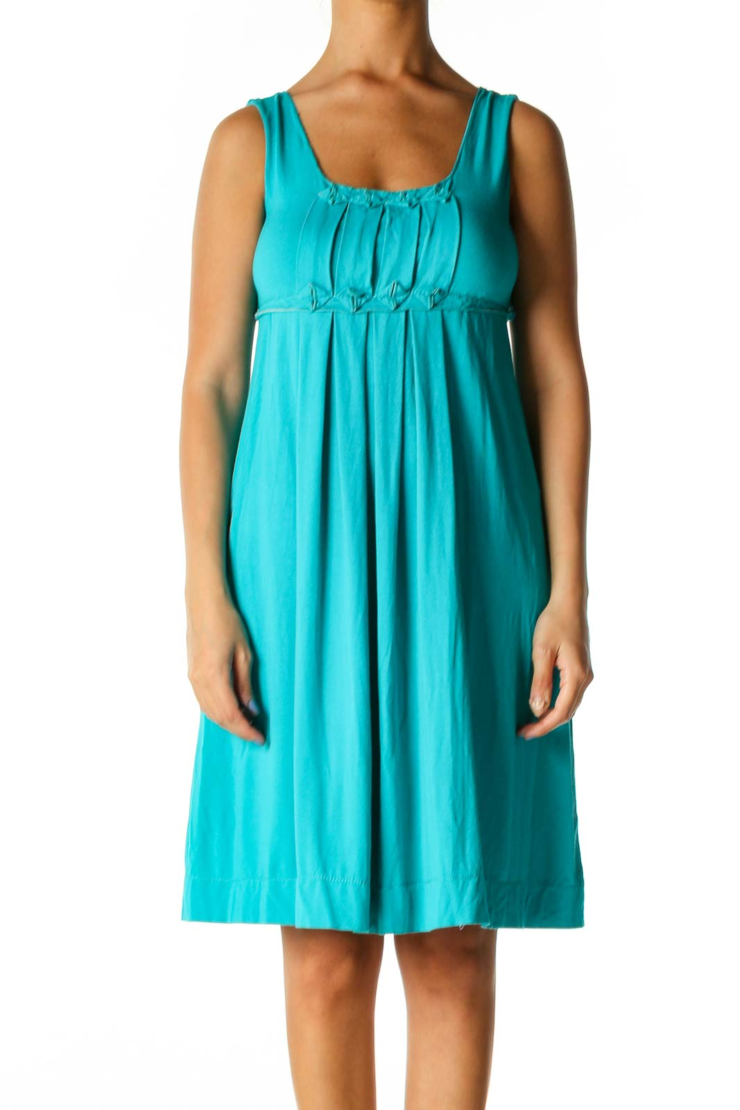 Blue Solid Casual A-Line Dress Front