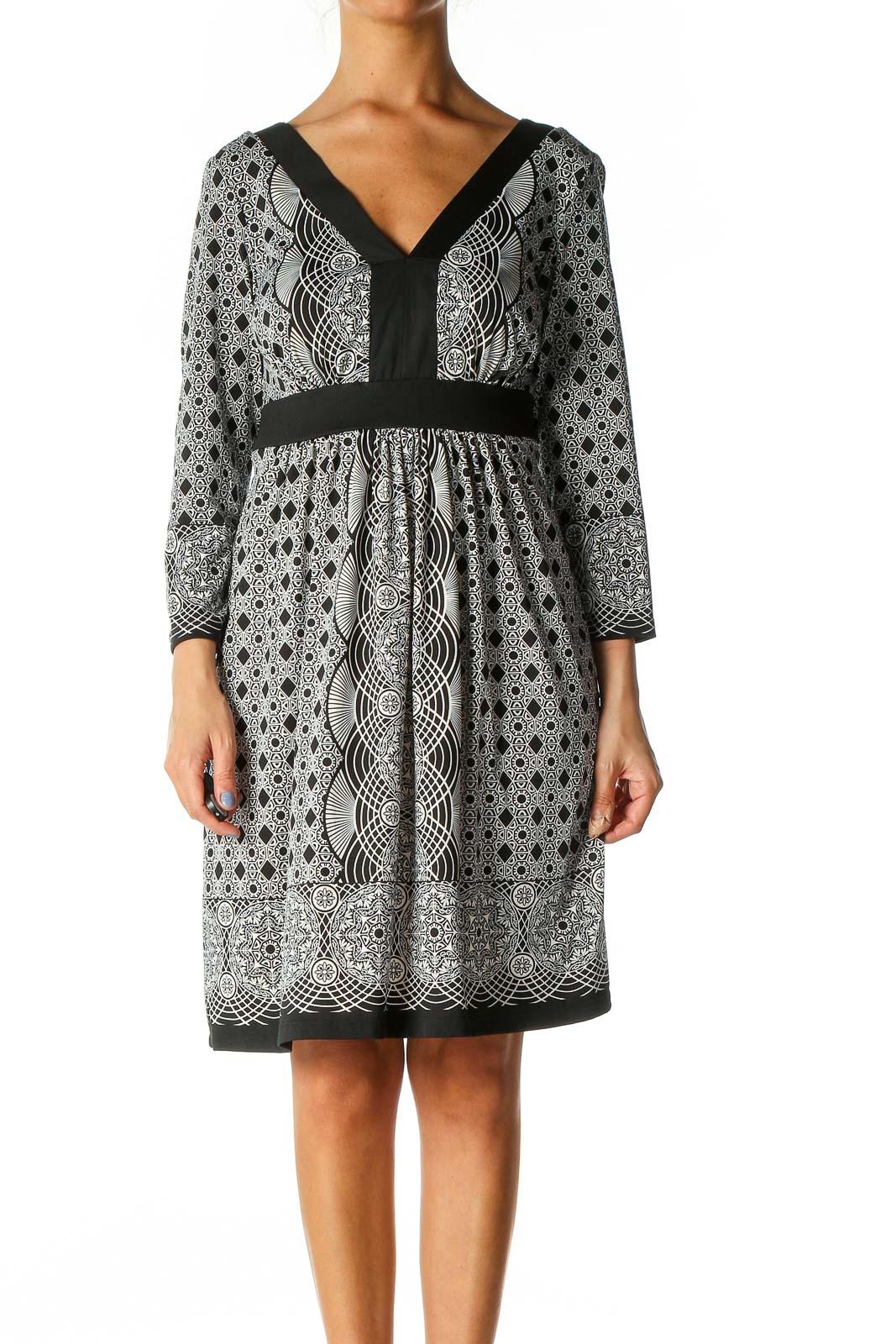 Black Geometric Print Bohemian A-Line Dress Front