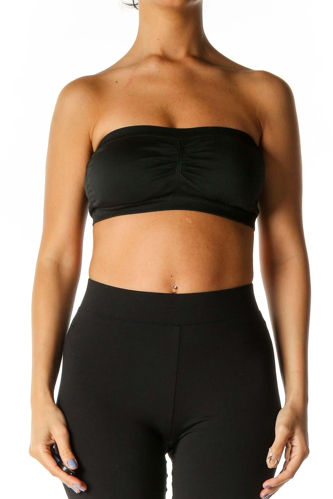 Black Solid Activewear Top Front