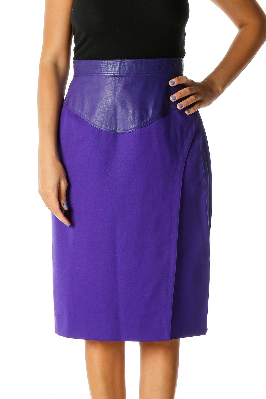 Purple Solid Retro Straight Skirt Front
