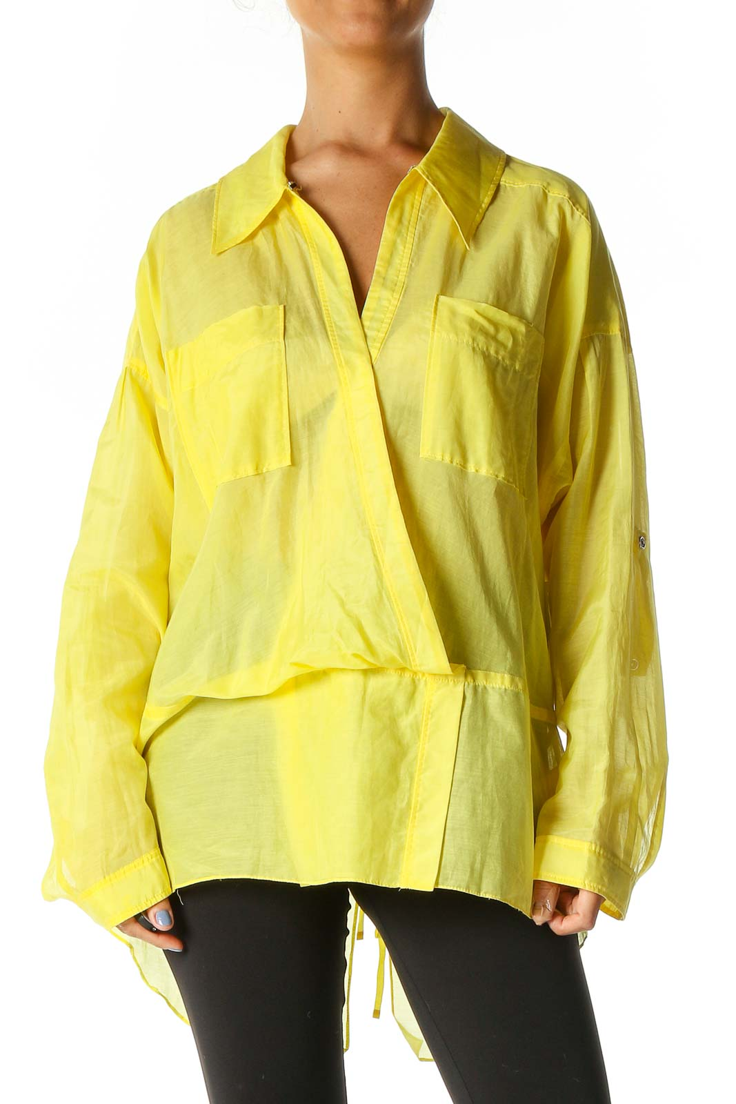 Yellow Solid Retro Blouse Front