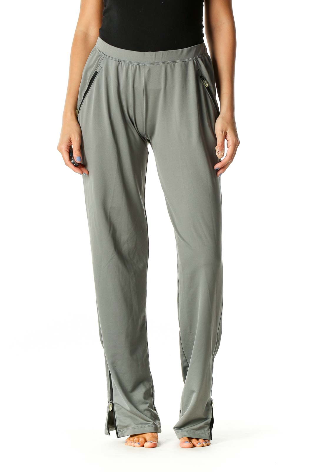 Gray Solid Activewear Pants Front