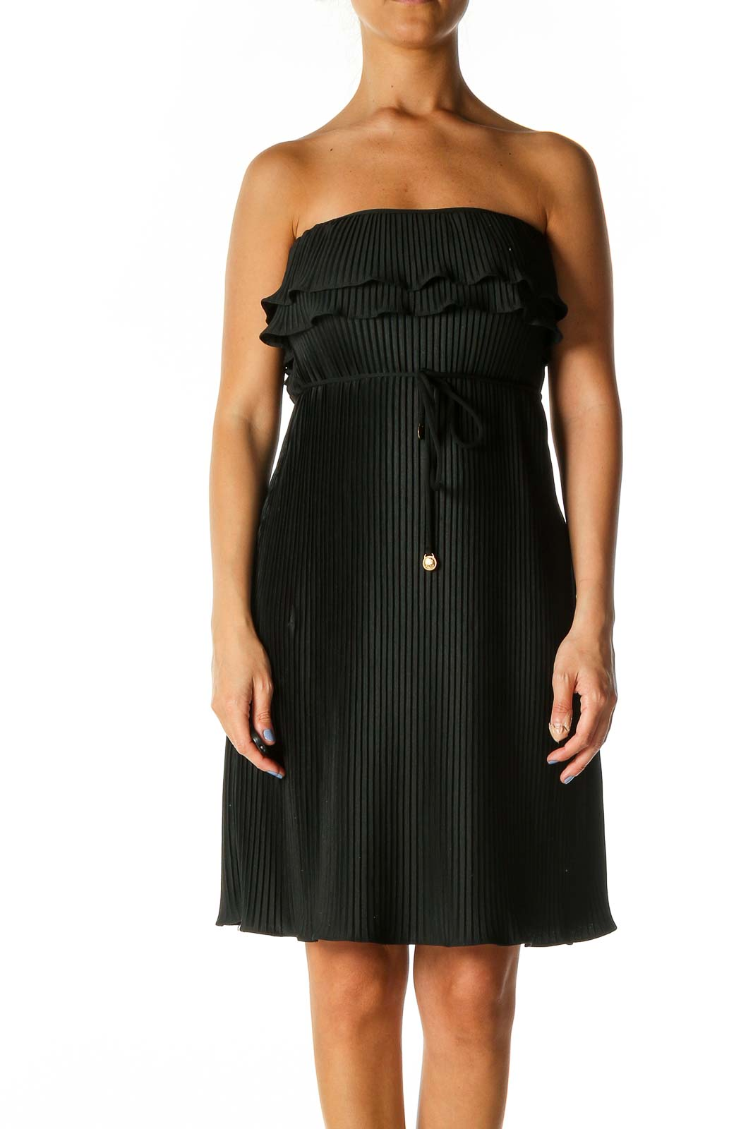 Black Solid Chic Fit & Flare Dress Front