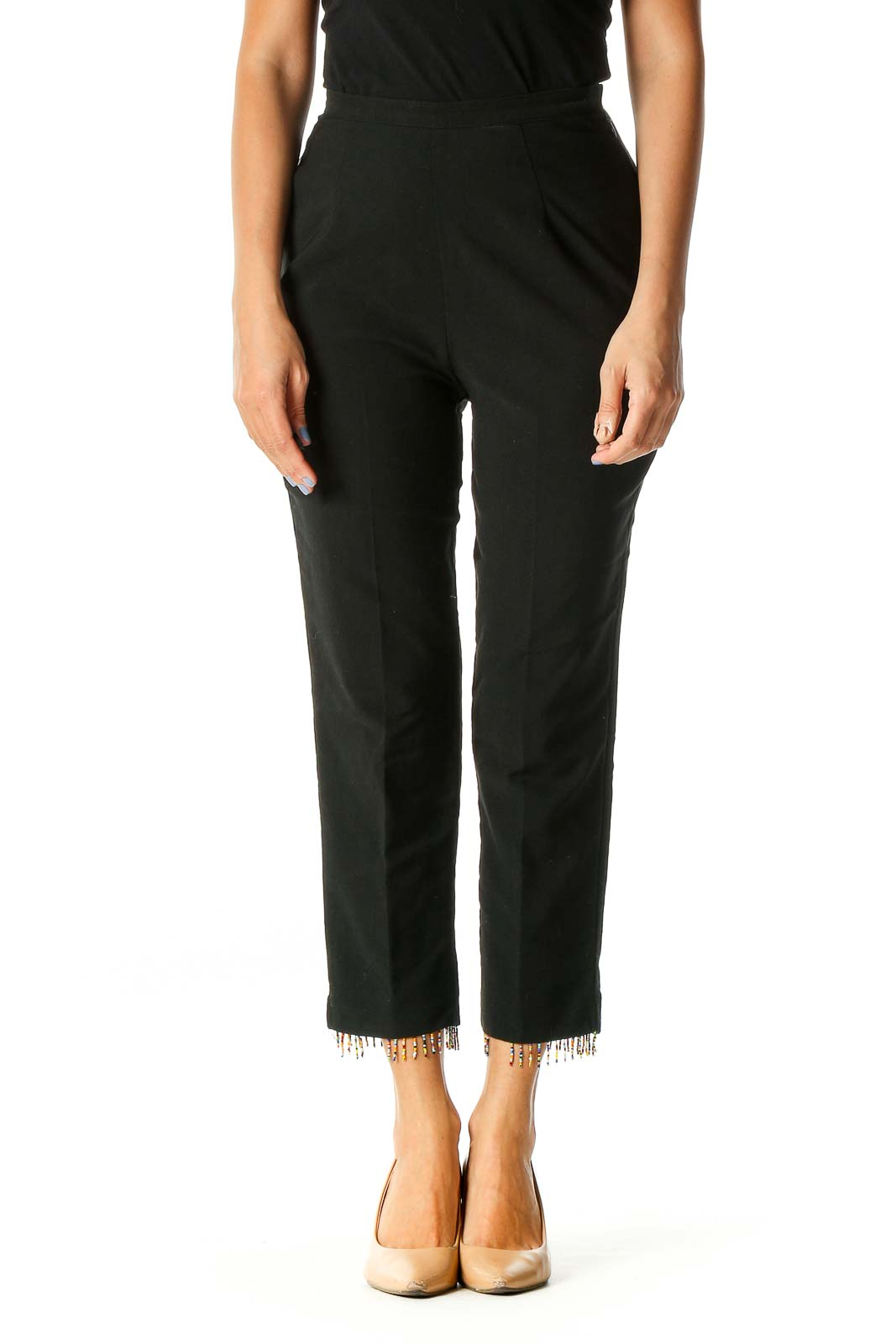 Black Beads Classic Trousers Front