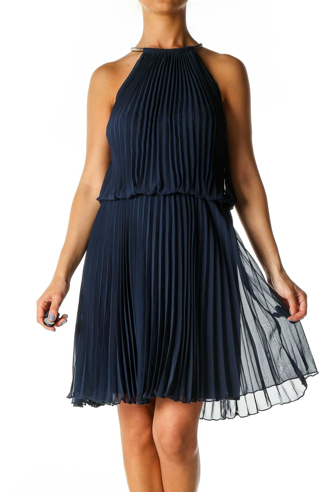 Blue Solid Cocktail A-Line Dress Front