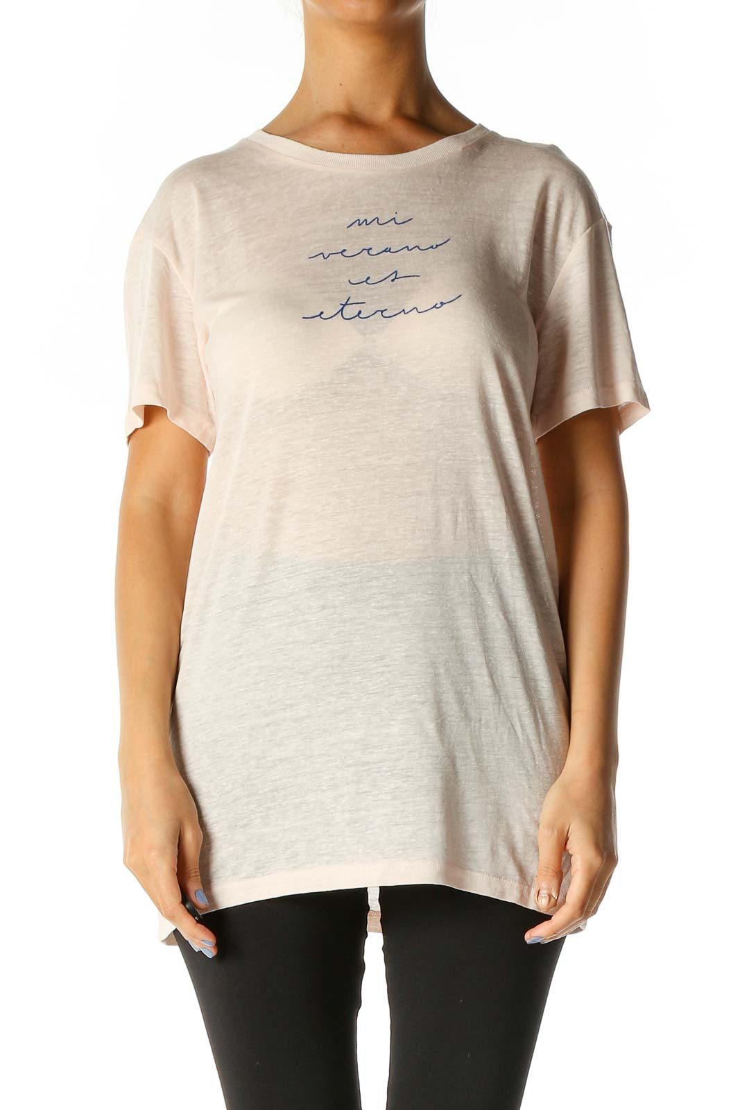 Beige Graphic Print Casual T-Shirt Front
