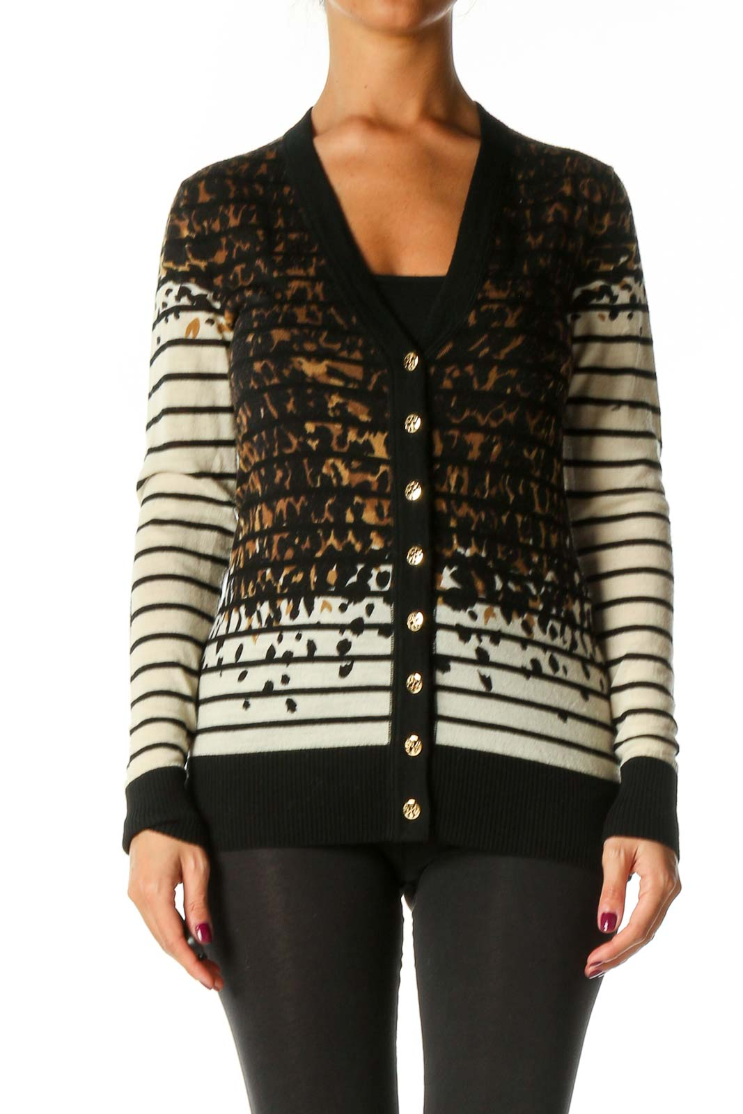 Black Striped Cardigan Front