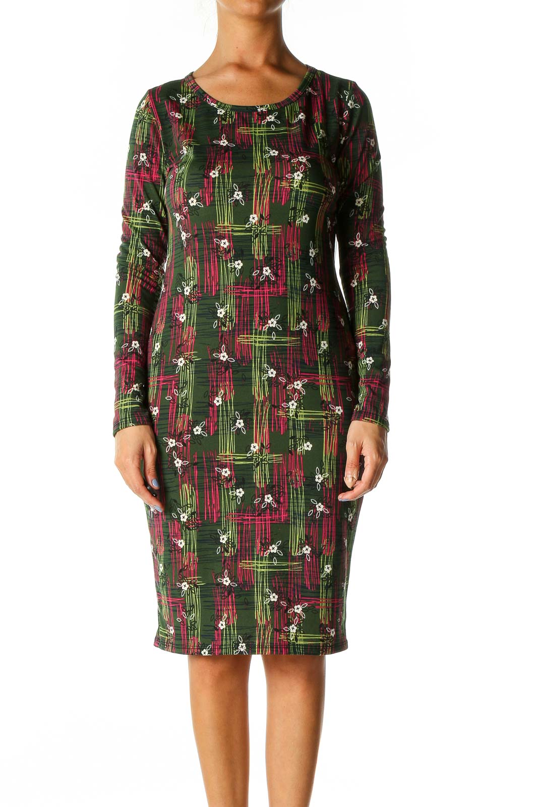 Green Graphic Print Casual Shift Dress Front