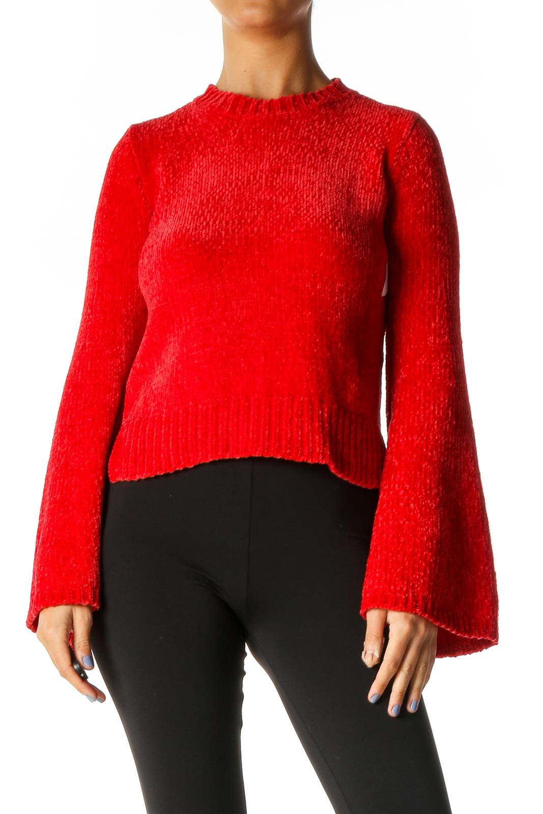 Red Textured Retro Sweater Front