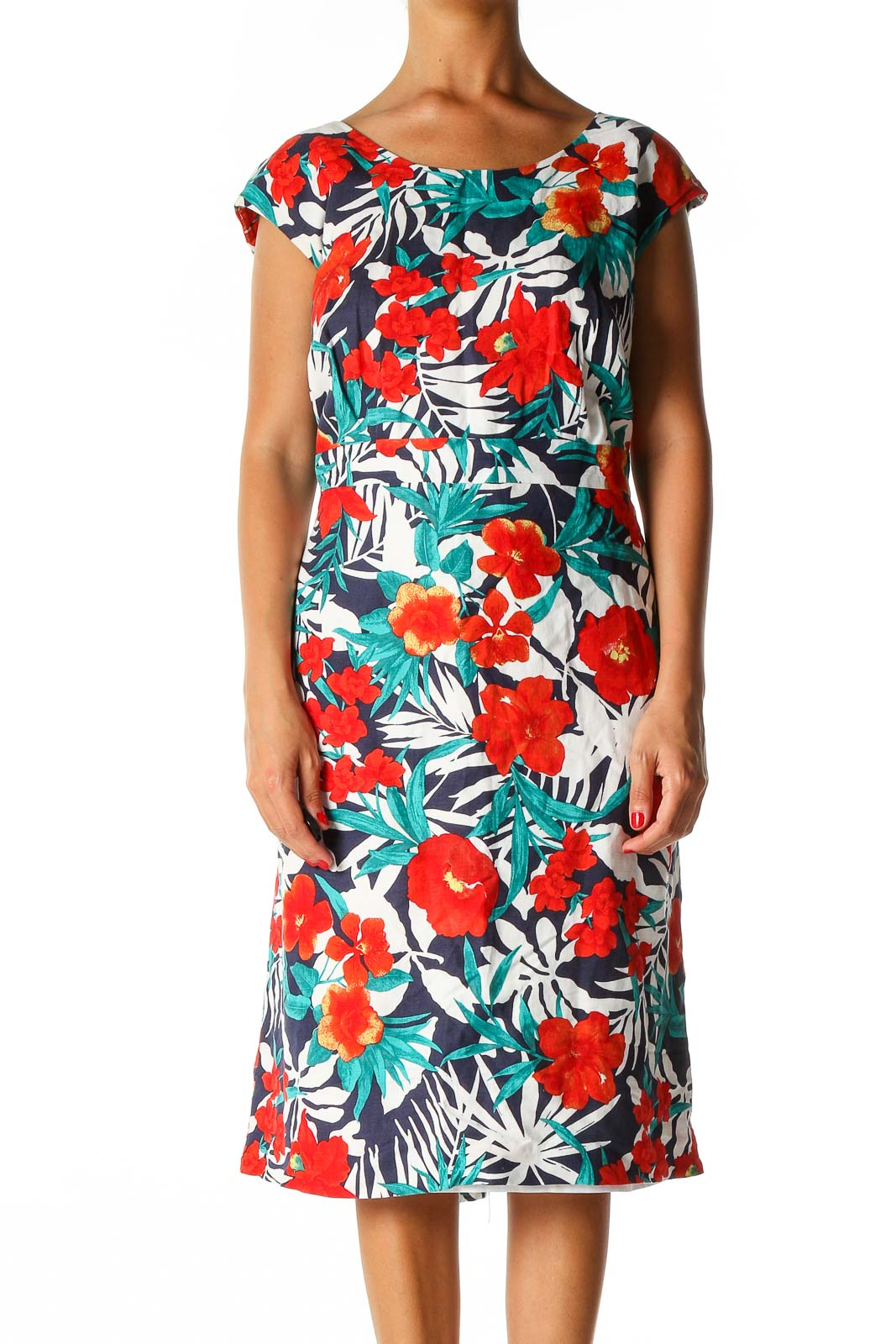 Red Floral Print Holiday A-Line Dress Front