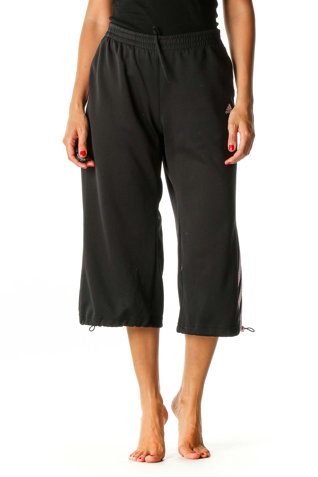 Black Colorblock Activewear Culottes Pants Front