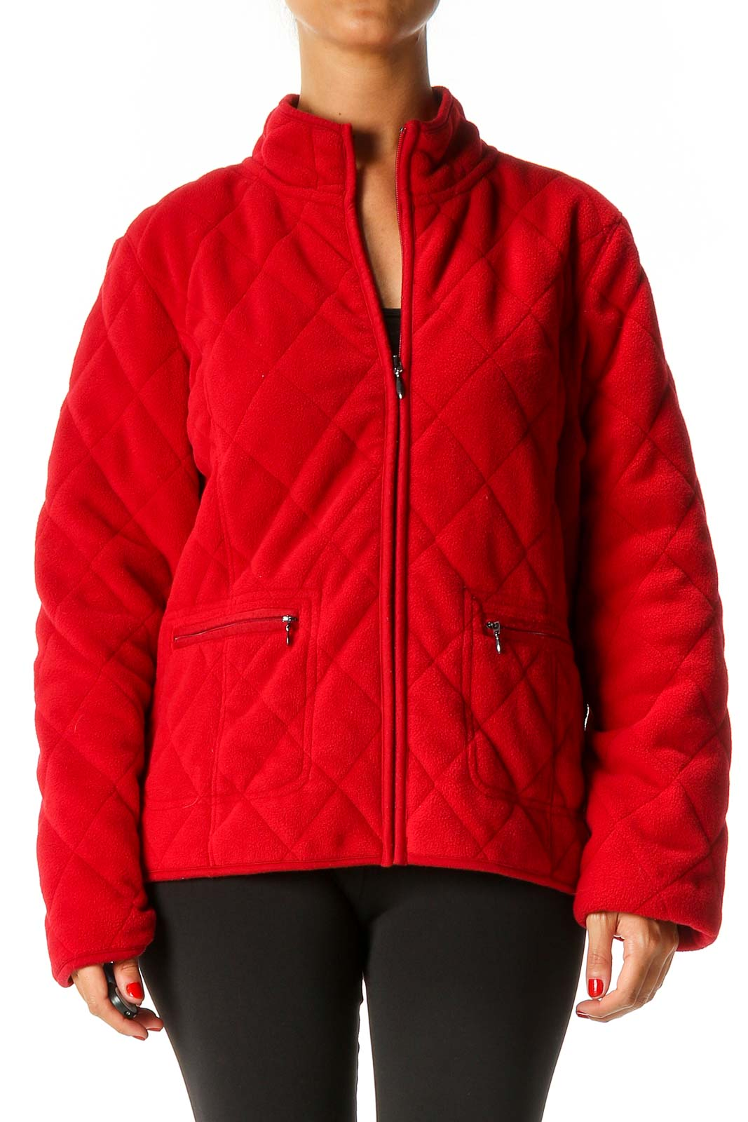 Red Quilted Jacket Front