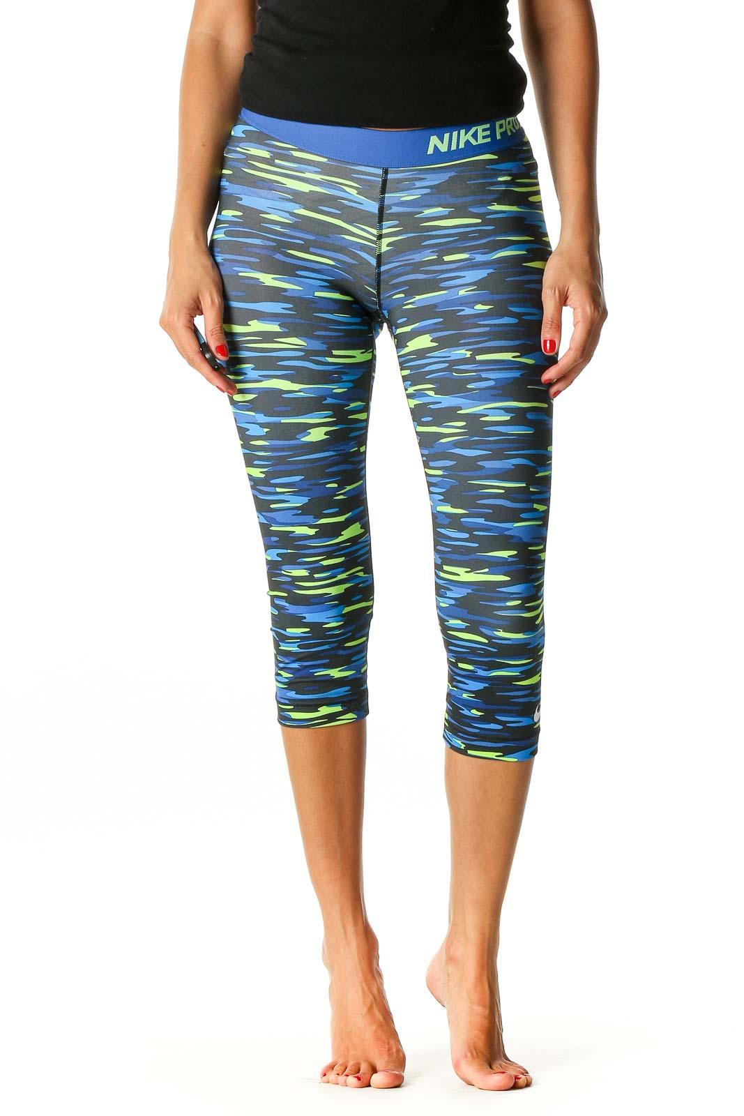Blue Camouflage Print Activewear Capri Leggings Front