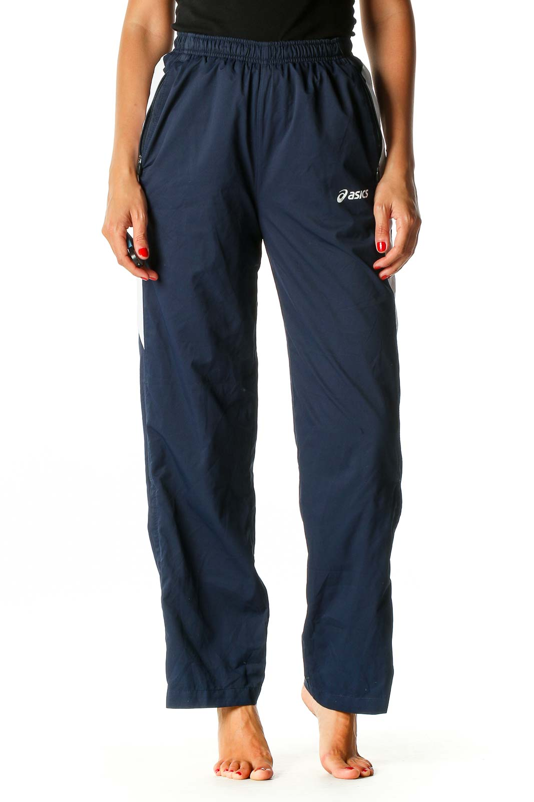 Blue Solid Activewear Sweatpants Front