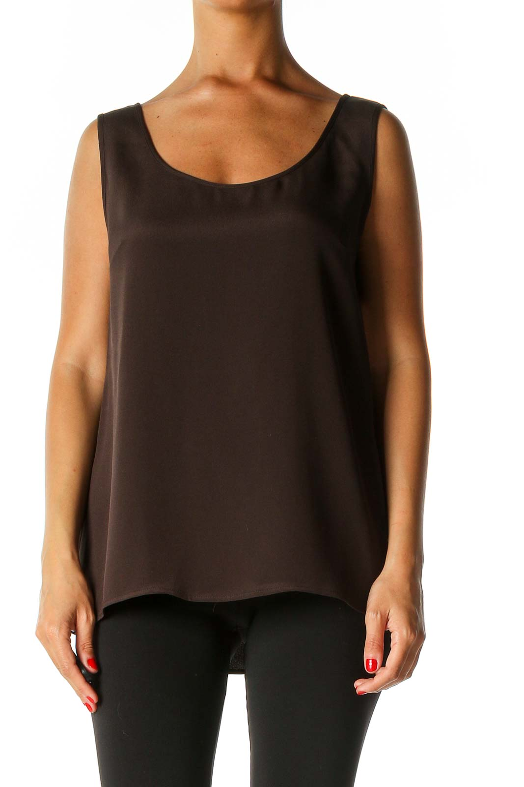 Brown Solid Casual Tank Top Front
