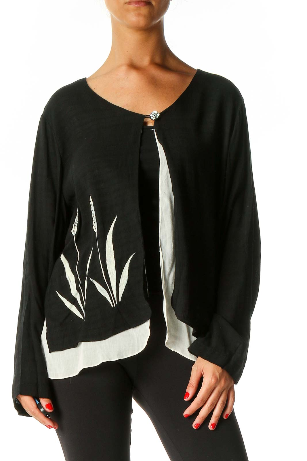 Black Solid Cardigan Front