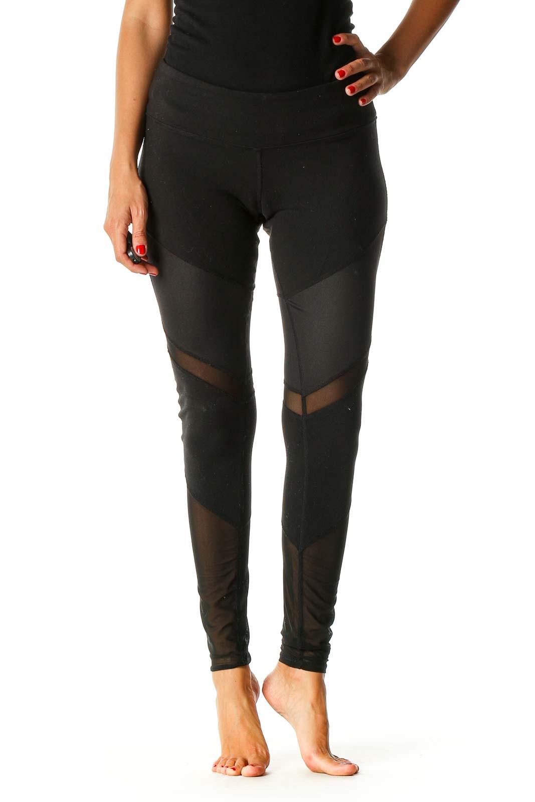 Black Textured Activewear Leggings Front