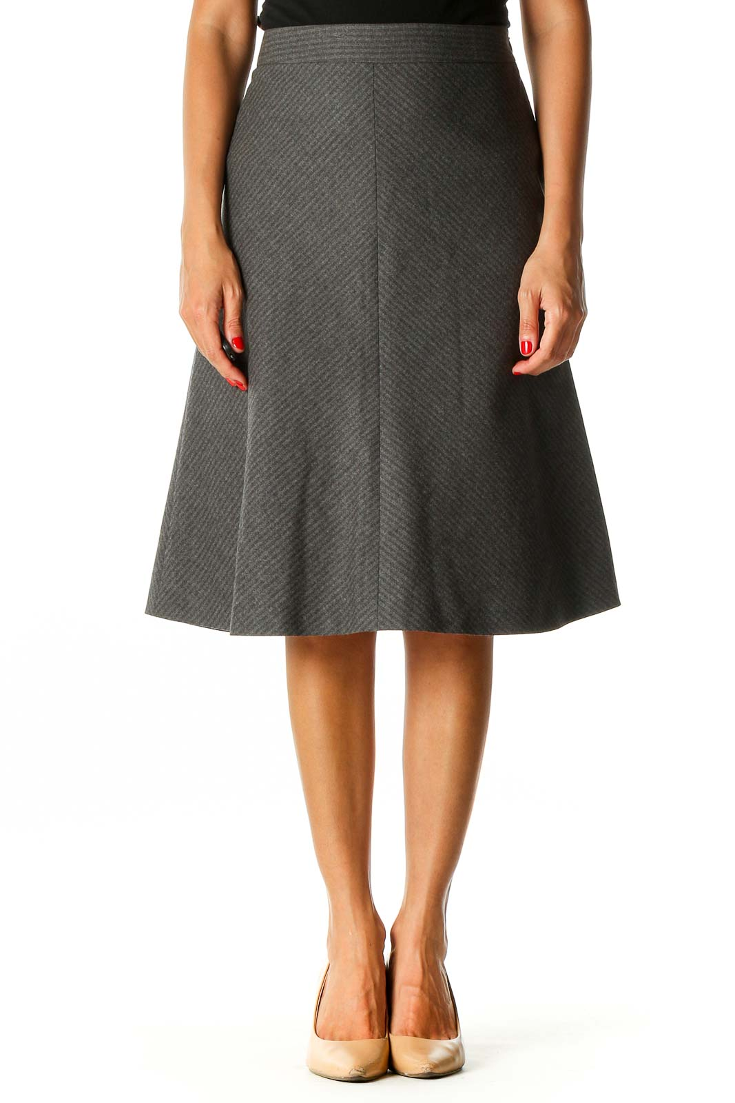 Gray Striped Classic A-Line Skirt Front
