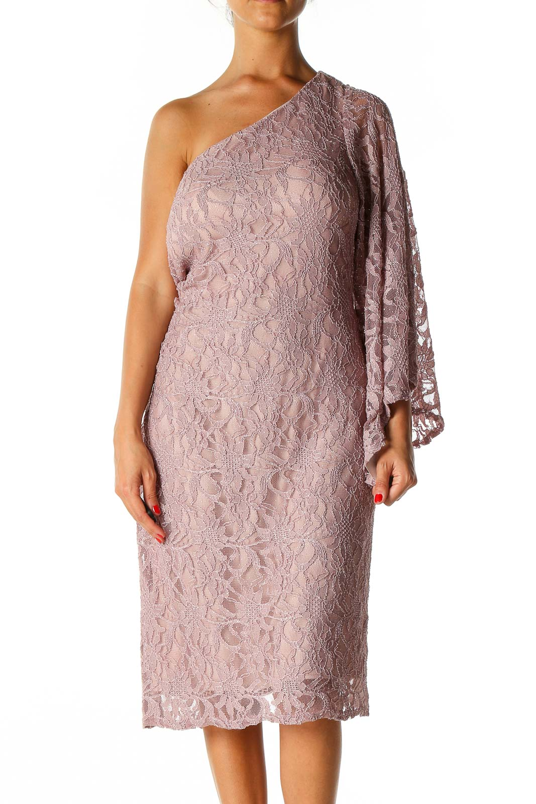 Pink Lace Semiformal A-Line Dress Front