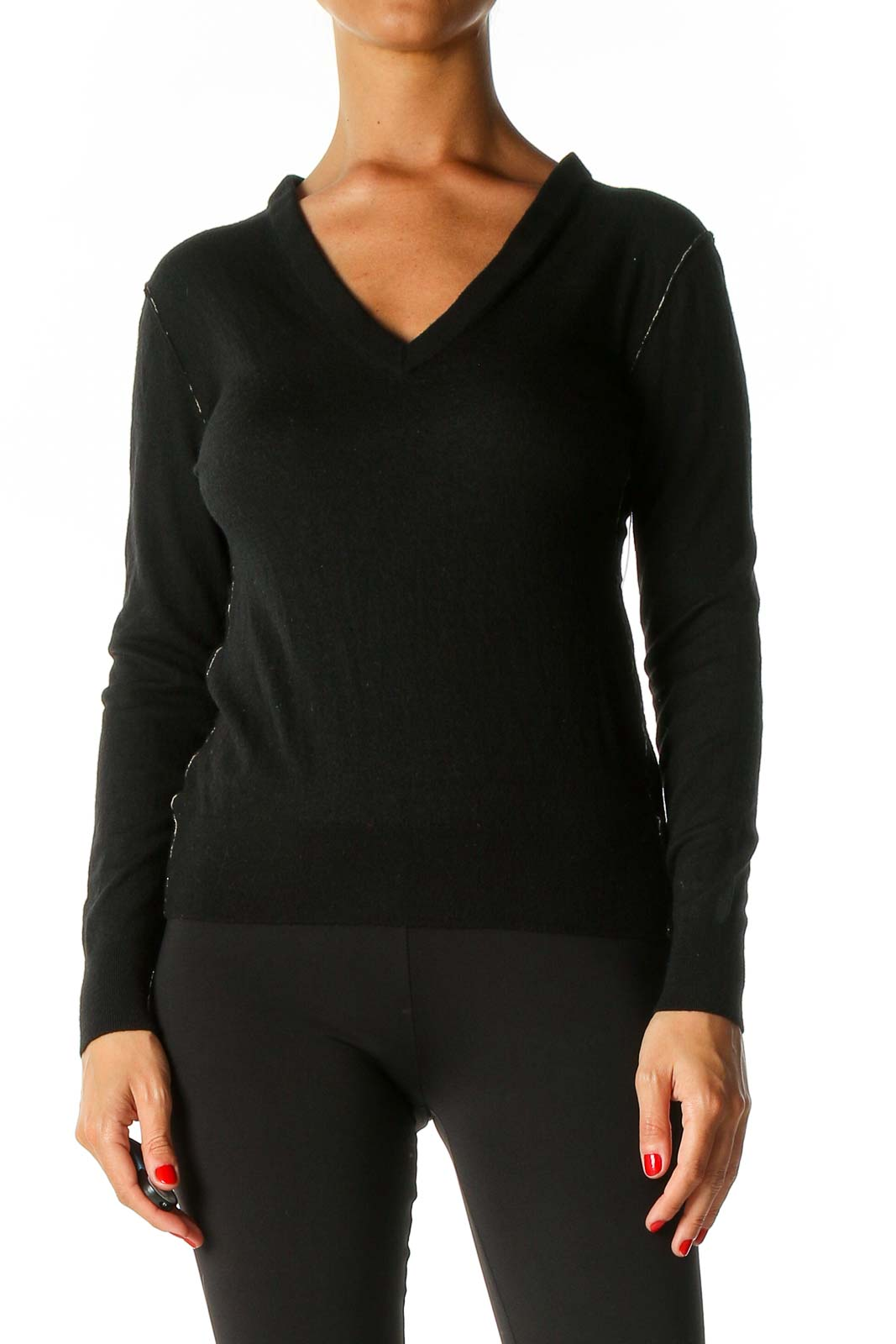 Black Solid Casual Sweater Front