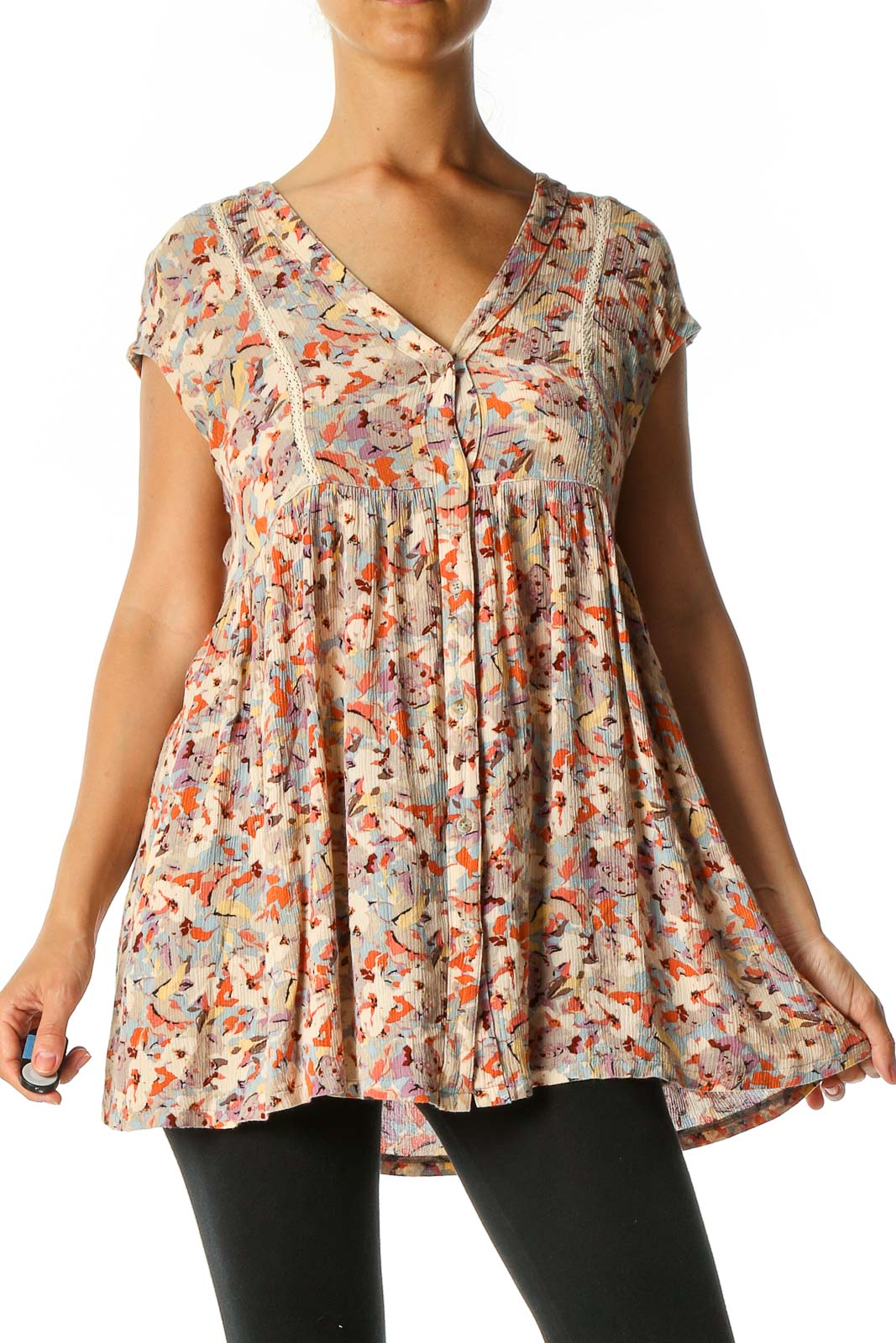 Brown Graphic Print Retro Blouse Front